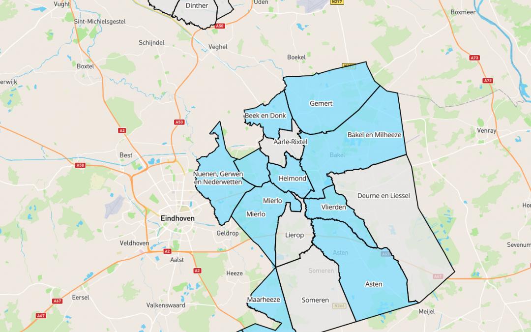 Historische landkaart Nuenen en omgeving (Peelland)
